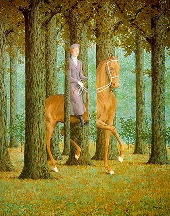 最後にご紹介するのは、ベルギーの画家ルネ・マグリットの作品です。シュルレアリスムを代表する画家であり、現実と非現実の狭間を描いた不思議な作品を数多く残しています。