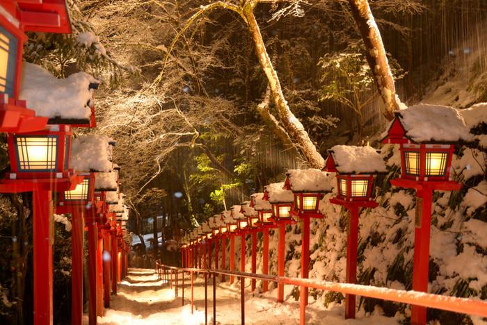 しかも、雪の降った日限定で、灯籠がライトアップされます。寒い日に思い切って出かけた人だけが見られる、特別な光景ですね。
