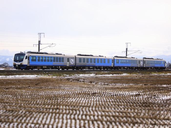 リゾートしらかみは秋田駅から青森駅を結ぶ五能線沿線を走るリゾート列車。 白神山地はもちろん、青く輝く日本海も眺められる景色の良さが自慢です。 ハイブリッドシステムで自然にも優しい青池編成は、青池同様ブルーでカラーリングされた車体が目印。 青池への最寄り駅「十二湖駅」にも停まるので、青池に行く際にはぜひ乗りたい列車です!
