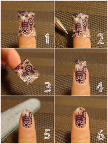 【マステの貼り方】 1. 大体の大きさにマステをカットして、爪に貼ります。 2. 細いボールペンで軽く爪の輪郭をなぞります。爪先は何もしなくていいです。この時爪より小さめにした方が剥がれにくいです。 3. 一度マステをはがします。 4. ボールペンで描いた線に合わせて切り、爪に再度貼ります。爪先は適当でいいです。 5. 爪先のマステはヤスリ(ファイル)でやすって、シールをカットします。 6. トップコートを塗って完成です。