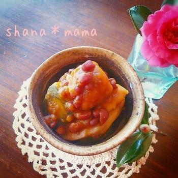 小豆、かぼちゃのいとこ煮に干し芋をプラスして、さらに甘く美味しく。ちょっぴりデザートに近くなるスイートなお料理です。