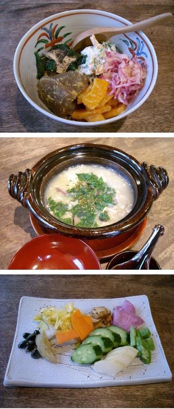 季節の野菜(山菜)料理→そばの実粥→せいろそば→季節の漬物が、順番に供されます。オプションでは、「そばぜんざい」「そばがき」などがあります。
