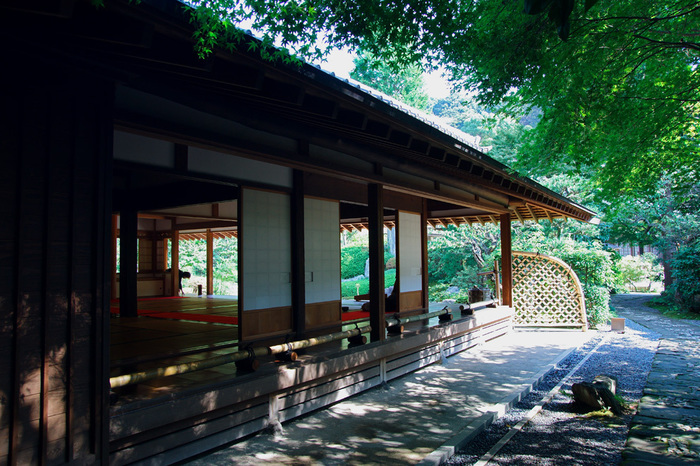 浄妙寺でも庭を眺めながら抹茶と和菓子を楽しめます。画像は「茶堂 喜泉庵」。