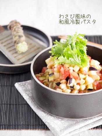 味つけはイタリアン&和風のフュージョン?!ワサビ菜もトッピングして・・・。さらっとおいしく食べられそうなベジタリアンな一品です♪