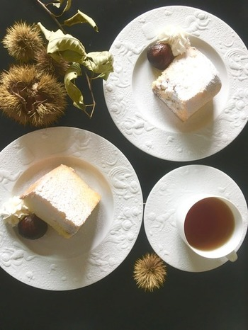 秋になったら食べたくなる、栗を使ったシフォンケーキ。渋皮煮の煮汁を入れることで、しっかり栗の風味を感じられます。