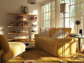 ソファの色を変えると、雰囲気がガラリと変わります。こちらのようにイエローを使うと、穏やかな雰囲気でゆったりくつろげる空間に。