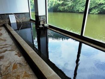 「みどり荘」のちょっと珍しい温泉は、内風呂いっぱいに満たされた黒い色のお湯。実は吹上温泉と自家源泉が混ざることで、こんな色に変化するんです。みどり池のグリーンとも対照的で面白いですね。