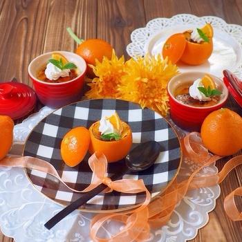 オレンジの香りが爽やかなクレームブリュレは、オレンジの皮と果汁を加えて、さっぱりかつクリーミーな口当たり。オレンジを器にしてる所がとっても可愛らしくて、お子様にも喜ばれそう♪