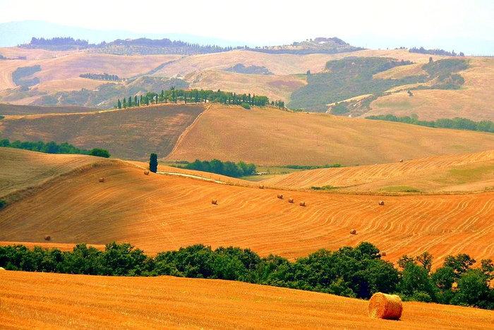 ルネッサンス期から現代まで、芸術家たちに愛され、多くの名画のモデルとなったオルチア渓谷は四季折々で美しい景色を見せてくれます。刈り入れが終わった畑に、干し草ロールが転がる様子は、トスカーナ地方の豊かさを物語っているかのようです。