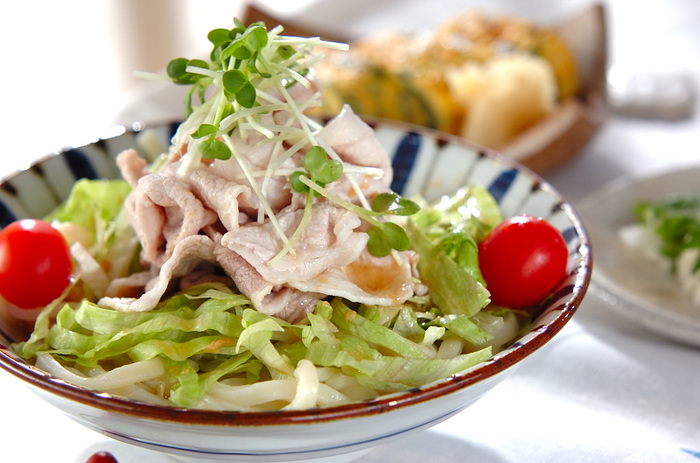 """""""麺弁""""も中々良いアイデア。たとえば豚しゃぶ冷うどん。お野菜もたっぷりで色とりどりの美しさ。めんつゆは水筒にいれて。"""