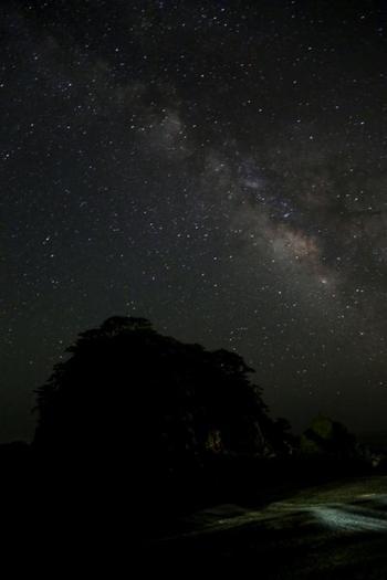 式根島の夜空。遮るものも、空を強く照らす光もないから、いまにも零れ落ちてきそうな星たちがあなたを見下ろします。