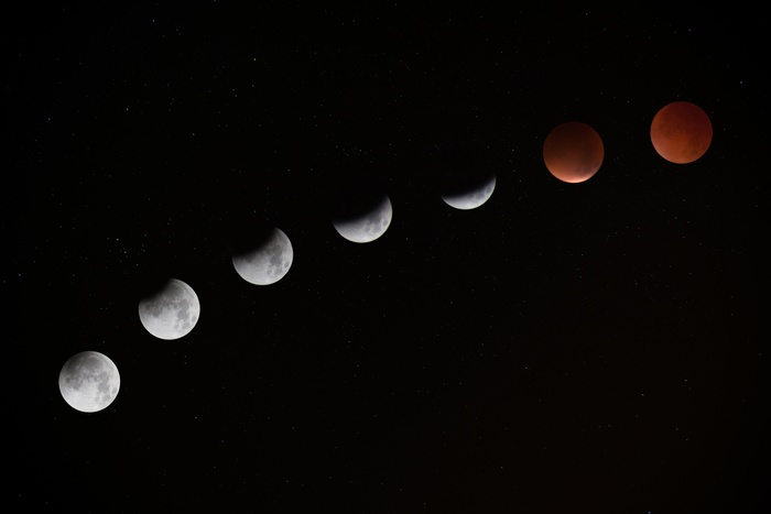月は、新月→上弦の月→満月→下弦の月→新月というサイクルを繰り返しています。1周を29.5日かけてまわるので、1フェーズおおよそ7日間(=1週間)と考えられます。