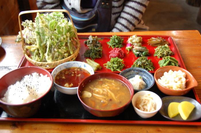 「春の山菜定食」 さすが自然の食堂!たくさんの種類の山菜が。 全部仙人の採りたて新鮮な山菜です。 食べた人は「こんなに珍しくで美味しい山菜はなかなか食べられない」とのこと。