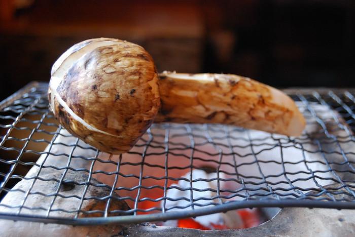 炭火でじっくり焼くマツタケは格別!