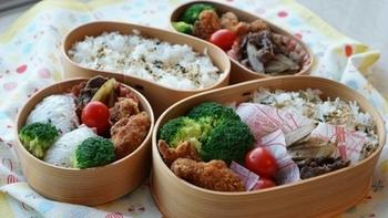 ご主人と中1・中2の息子さん二人のために毎日お弁当を作っているというpick-lessさん。きれいに詰められた3種類の曲げわっぱ弁当は、お母さんの愛情満点の素敵な仕上がりです♪