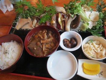 「きのこお刺身定食」 蒸したきのこを刺身のようにスライスして、わさび醤油などでパクッと。 きのこと一緒に山の風味を楽しめます!