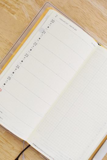 右ページがノートになっている「レフトタイプ」は1周間で仕事や、予定が終わる人や、プロジェクトが長期に渡る人に向いています。右ページは、ひらめいたアイディアや、週のできごと、ToDoリストに使えます。