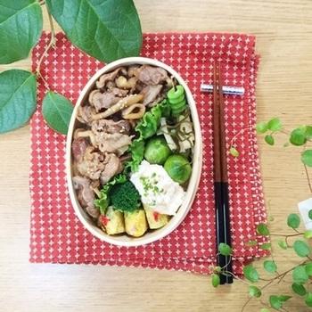 レタスの仕切りが、ご飯の上のおかずたちをしっかりと分けてくれている素敵なのっけ弁当です。