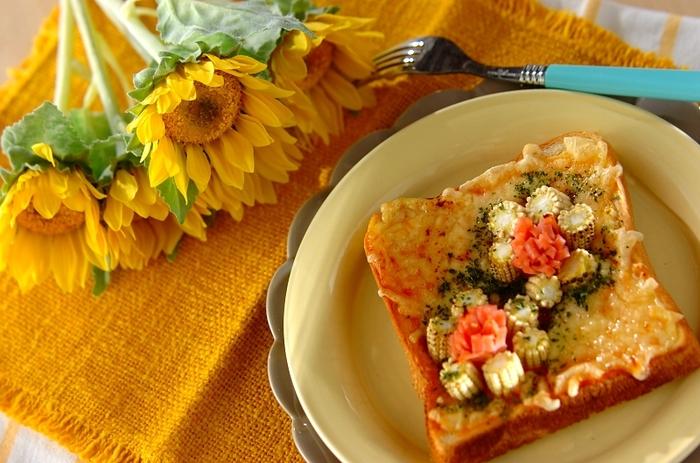 トーストレシピをもっと自由に楽しみたいという方は、ひまわりに似せたアレンジレシピはいかがでしょう。食卓も明るくなりますよ!