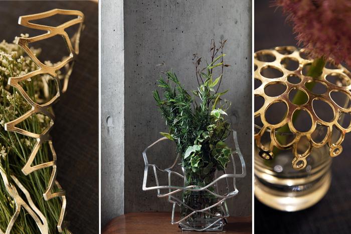 「KAGO」はバスケットとして使うだけでなく、花瓶の周りを飾るのに使うこともできます。まるでオブジェのようですよね!