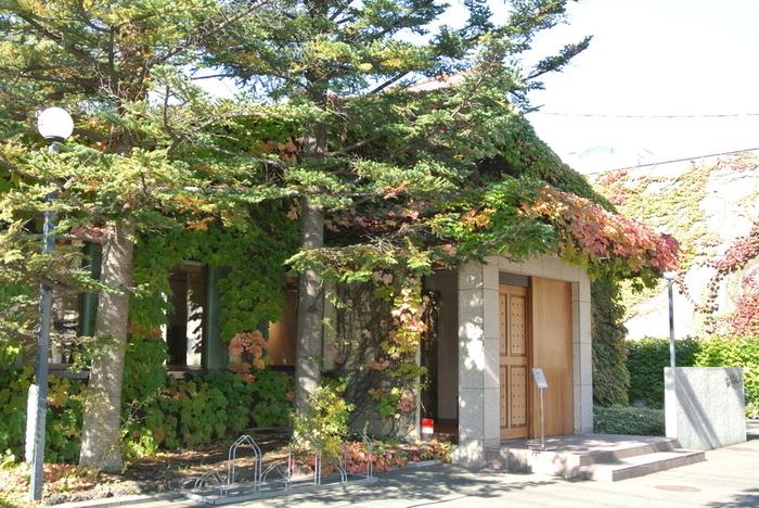 札幌市南区真駒内にある、静かな喫茶室が「六花文庫」。ツタの絡まる建物は、秋には赤く染まります。