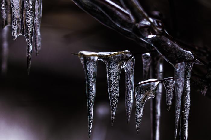 沢に厚い氷が張りつめる頃。沢を流れている水さえも寒さに凍りつく厳しい冬の情景です。