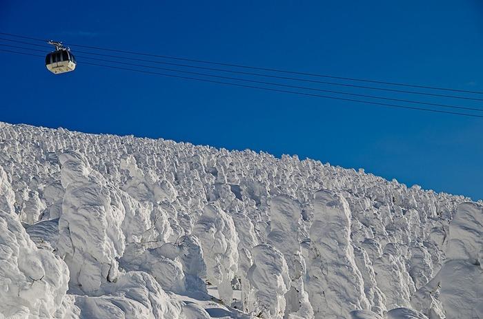 山形県にある蔵王温泉スキー場では、ロープウェイに乗って樹氷を見に行くことができるんです。もちろん、スキーやボードをしない方でも大丈夫!コートやマフラーでしっかり防寒して乗り込みましょう。