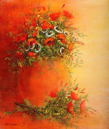 「コクリコ」・・・ミモザや白い小花の中でも、ひときわ存在感のある赤いコクリコ。花瓶の輪郭も背景の赤も溶け合って素敵ですね!