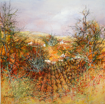 「ぶどう畑」・・・澄み切った冷たい冬空を感じさせます。群生するコクリコの赤が彩りを与え、画面を引きしめています。