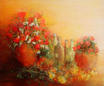 「夏の生物画」・・・2つの花瓶に盛られた花とワインのボトル、そしてレモン。豊かな大地の歌声が聞こえそうですね。