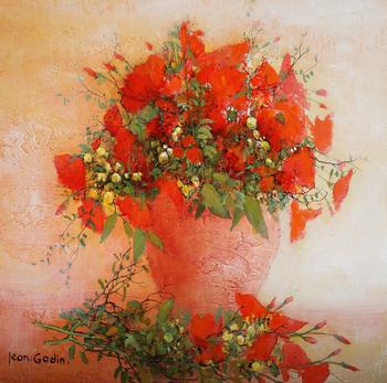 「小さなブーケ」・・・小さくとも強い主張を感じる赤いコクリコと草花のアレンジ。生命力を感じますね!