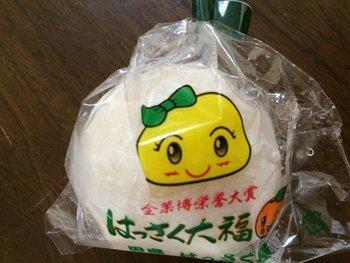かんきつ類に適した気候のため、広島ははっさくの名産地でもあります。そんなはっさくを大福に!白あんとジューシーな果実のバランスが大人気です。