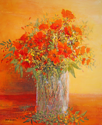「赤いブーケ」・・・心と体にエネルギーが伝わる赤い花々のアレンジです。暖かく、ふくよかな印象です。