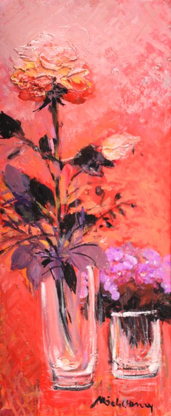 「ローズ色のバラ」・・・絵の中の全てが、ローズ色に溢れていますね!