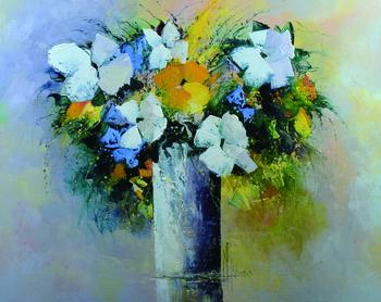 「白いブーケ」・・・白い色が与える静寂とクールなイメージ。可愛らしいオレンジの花がポイントとなり、清楚でとても美しいブーケです。