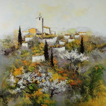 「鐘楼とブーケ」・・・こちらもリュバロのイメージを描いた風景。教会のカリヨンが遠くに見える美しい村の景色ですね!