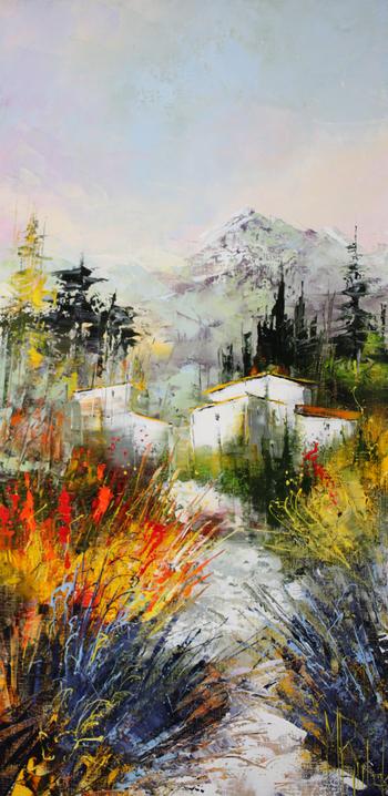 「プロバンス」・・・思い切った構図と強い色彩表現がとても大胆ですね!ここにも白壁に黄色の屋根の村が見えます。私には、この家そのものが人に見えるのです。自分の思うままに描く画家、対して私たちは絵を見て自由に想像力を膨らまします。その両者があるから面白いのです。