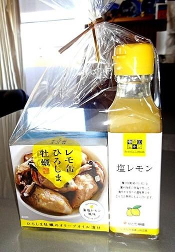 瀬戸内の名産、レモンを使ったレモン塩にレモン風味の牡蠣の缶詰。お塩はステーキやサラダなど、さまざまな料理に活躍します。甘いものが苦手な方にうってつけのお土産です。