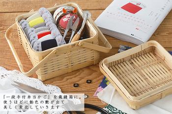 こちらも、竹製のお弁当箱です。持ち手付きなら、お家の中での移動もしやすいですね。