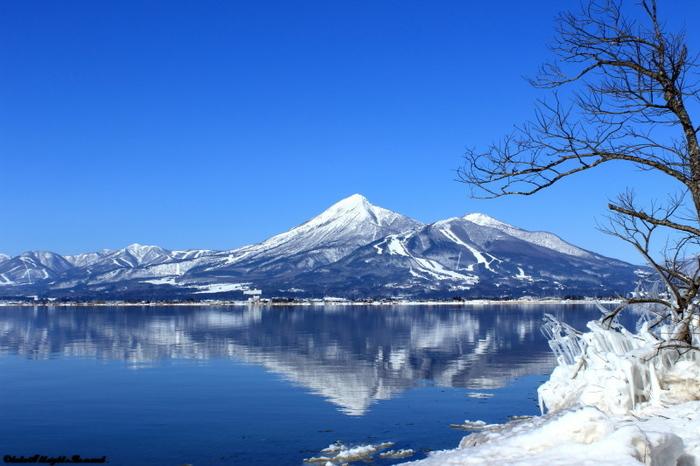 雪をかぶった磐梯山。まるで鏡のように猪苗代湖に写っています。 岸の近くは、凍ることもあるのだとか!景色に見とれて、足を滑らせないように気を付けて。