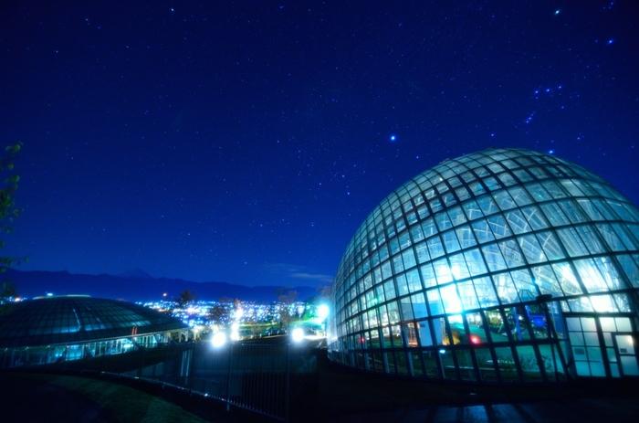 巨大なドーム型の温室は、日本新三大夜景にも選ばれたほどの綺麗さなんです。ちょうどほったらかし温泉の下にあります。