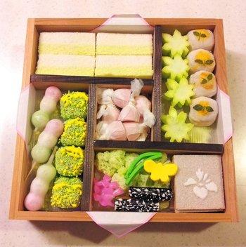 4月の京のよすがは、桜のすり琥珀はなくなっているものの、お花見の定番「三色団子」が見られます。季節や日によっても詰められるお菓子は違うようです。