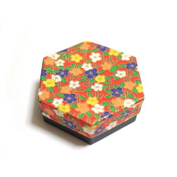 六角形の箱のフタは、様々な柄のバリエーションがあるようです。人を楽しませるその心意気が、亀廣末の粋というものなのでしょう。