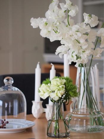 白いスイートピーばかりを集めて、長めにアレンジすると透明感のある美しさがありますね。白いお花はほかのインテリアを邪魔することがないので、重宝します。