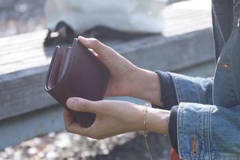 財布自体を思い切ってこんなにコンパクトにしてしまって、必要以上にお金やカードを持ち歩かないのも一つの手ですね。