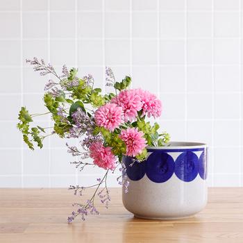 Lisa larson(リサラーソン)と波佐見焼きがコラボした植木鉢。鉢カバーや花器として使えるアイテムで、和風のお花にも洋風のお花にもマッチし、独特の優しい雰囲気になります。