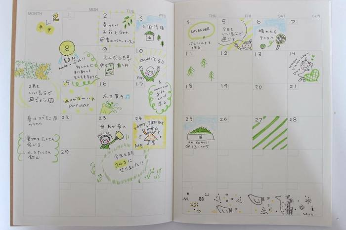 イラストを描き込めば後で見返しても楽しいですし、自分だけの手帳に愛着がわきます。ごくシンプルな手帳が、イラストのアレンジでこんなにかわいらしくなるんですね!