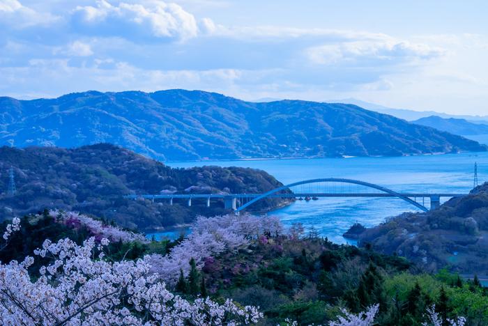 大三島と伯方島の間、鼻栗瀬戸に架かるアーチ橋。開通当時(1979年)は日本最長のアーチ橋でした。本州四国連絡橋の中で最初にできた橋としても知られます。