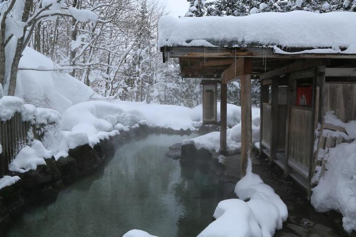 「蟹場温泉」は、1846年開湯。鶴の湯に次ぐ歴史ある温泉宿。ブナ林の中の露天風呂は混浴。(夜間は女性専用の時間もあり)
