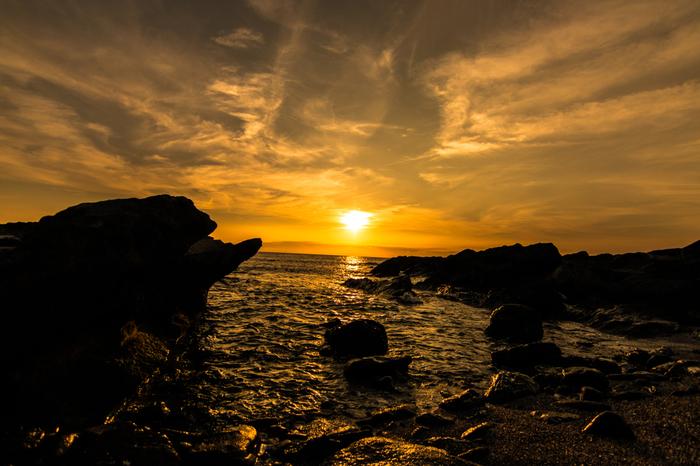 三浦半島の南の端にある、城ケ島。 美しい落陽を望むことができます。